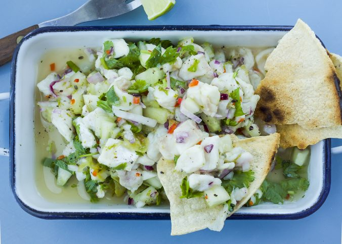 ceviche with perch and gooseberries