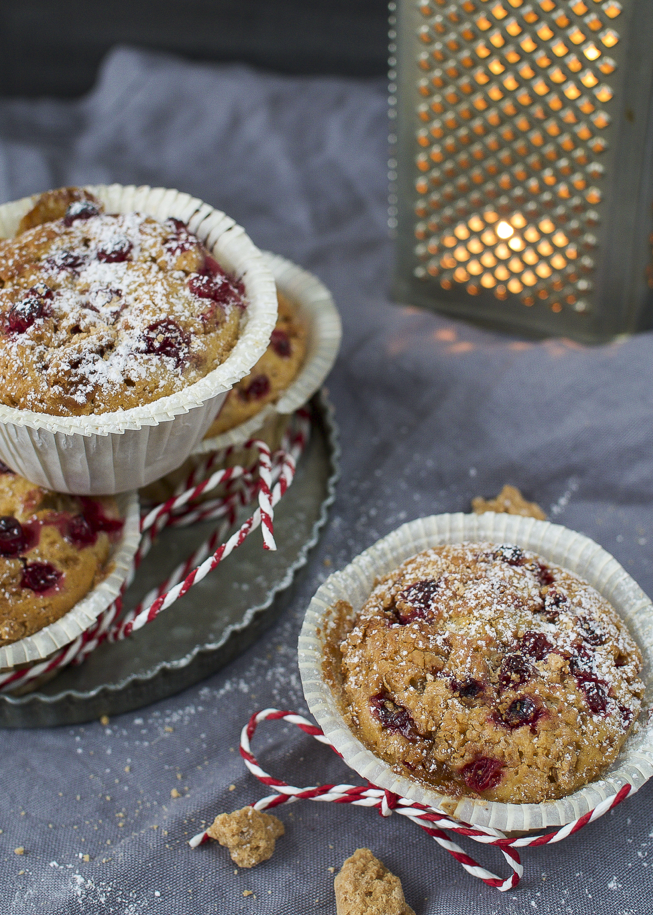 lingonberry and toffee muffins
