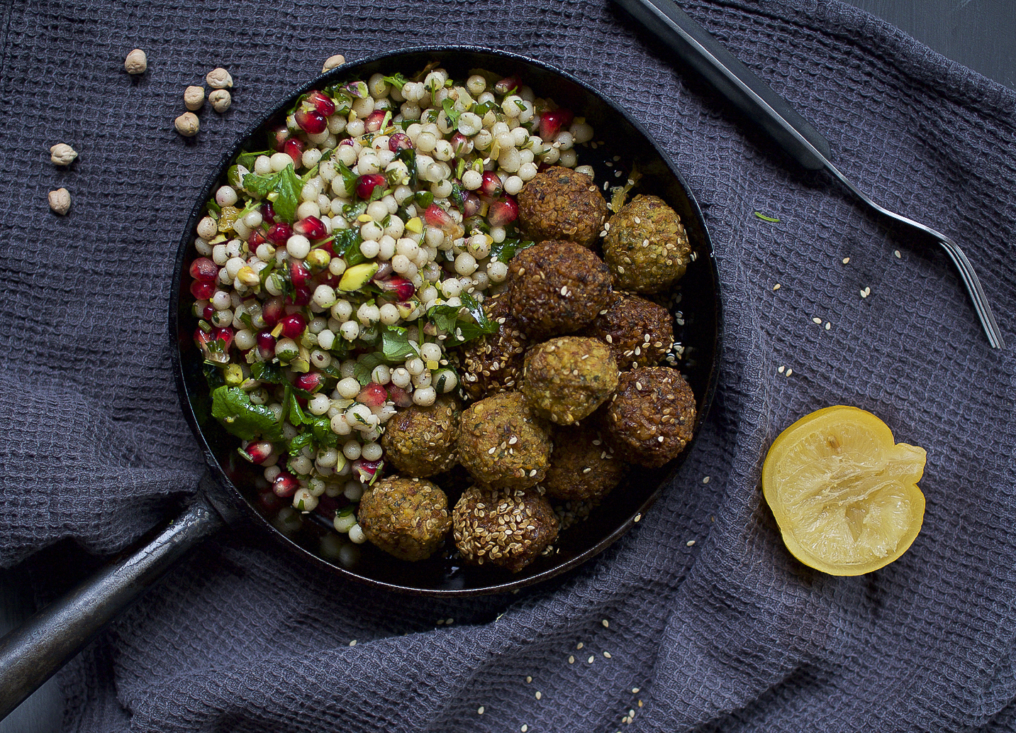 Falafels and pearl couscous