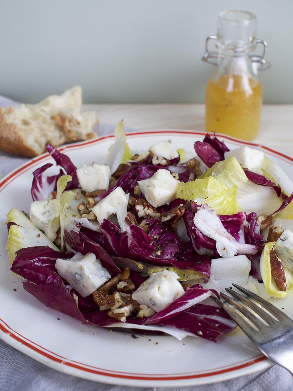 wintery salad made of endive and radiccio