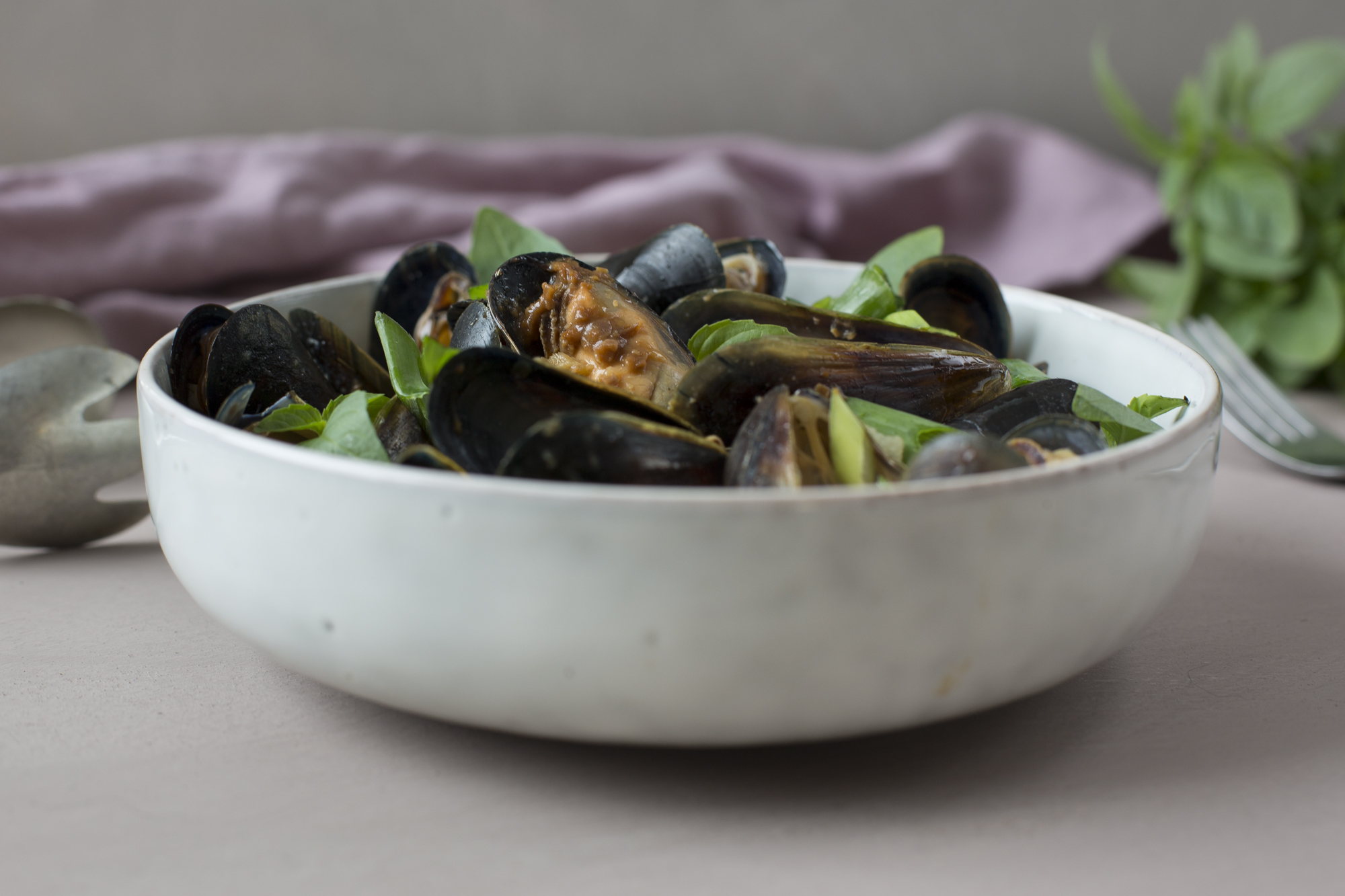 Asian style mussels with denjang