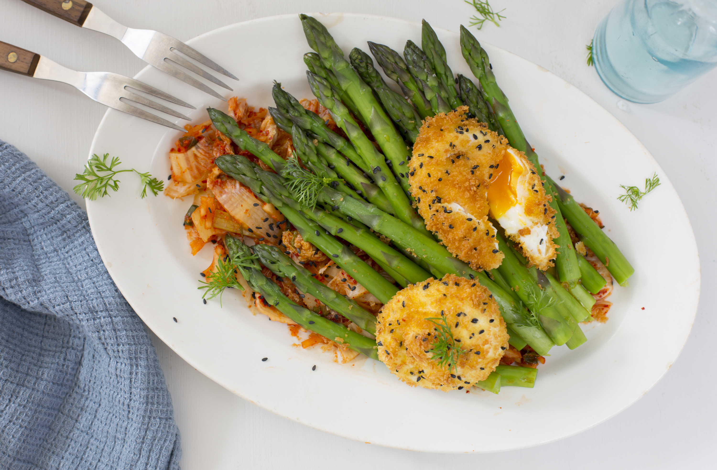 deep fried poached eggs and asparagus