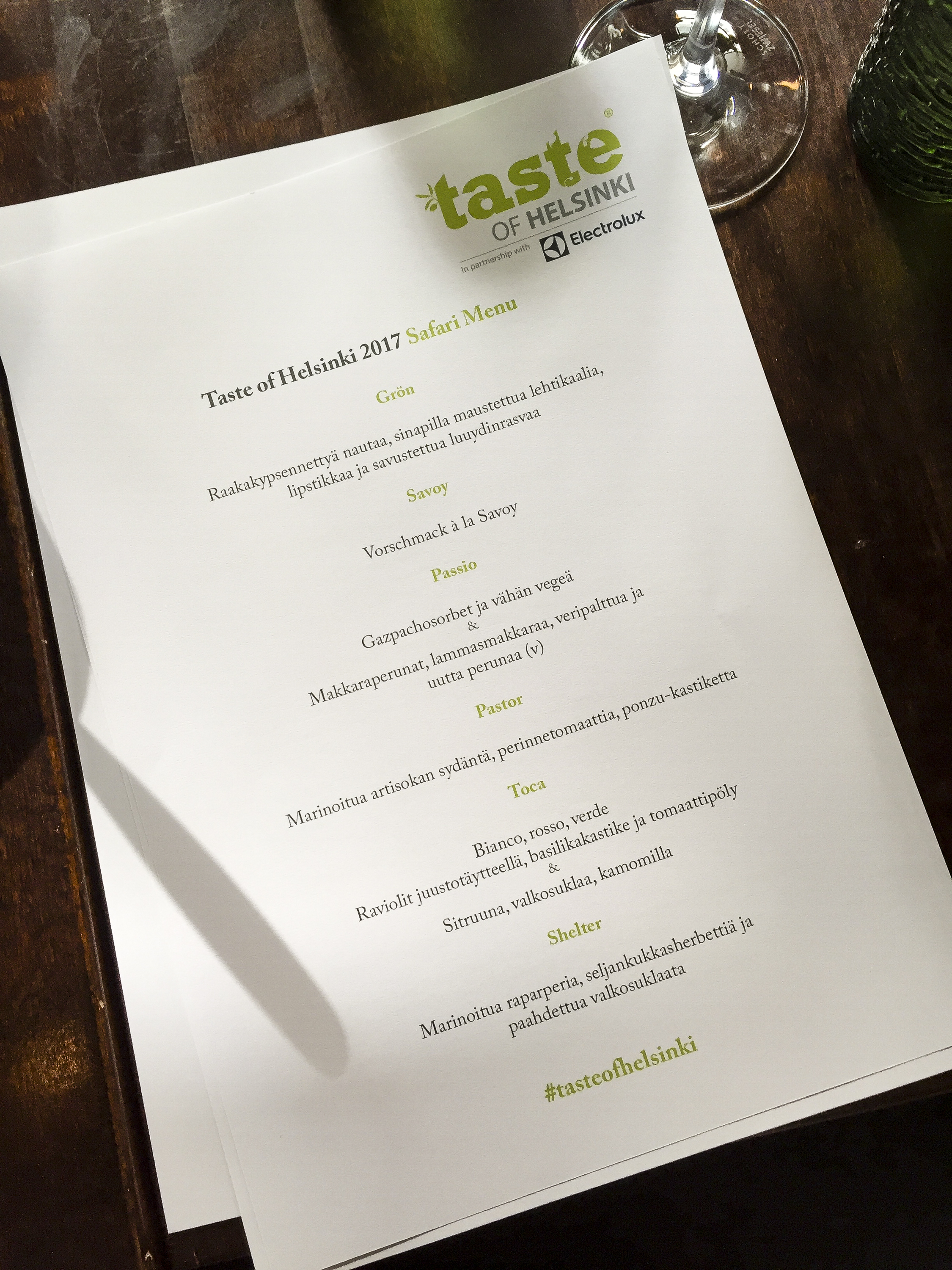 Menu for the Taste of Helsinki safari