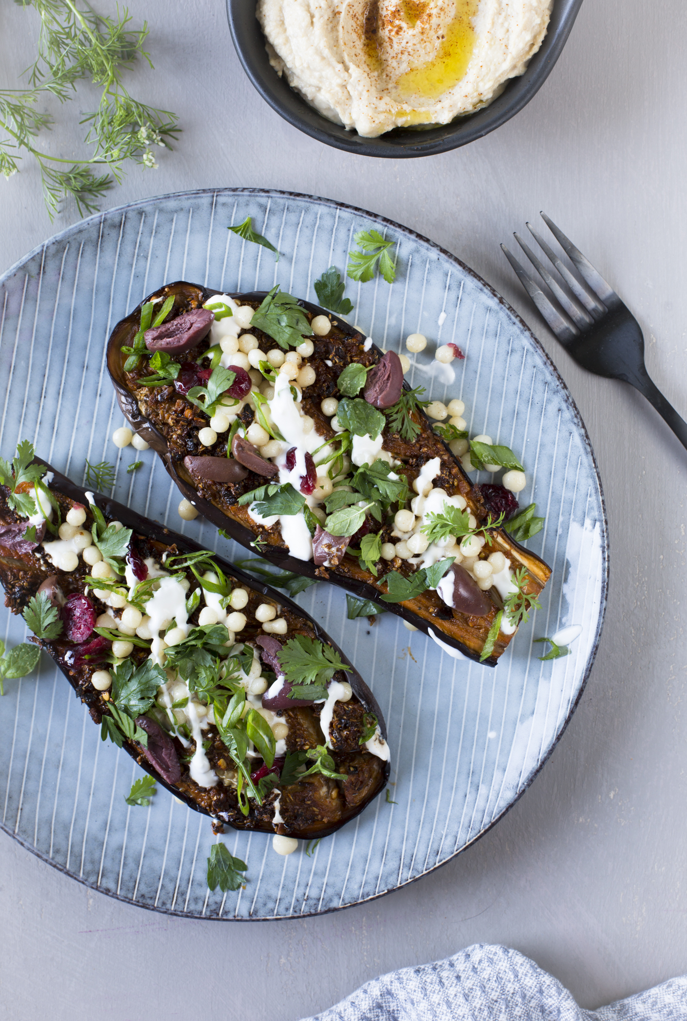 Chermoula aubergines and hummus