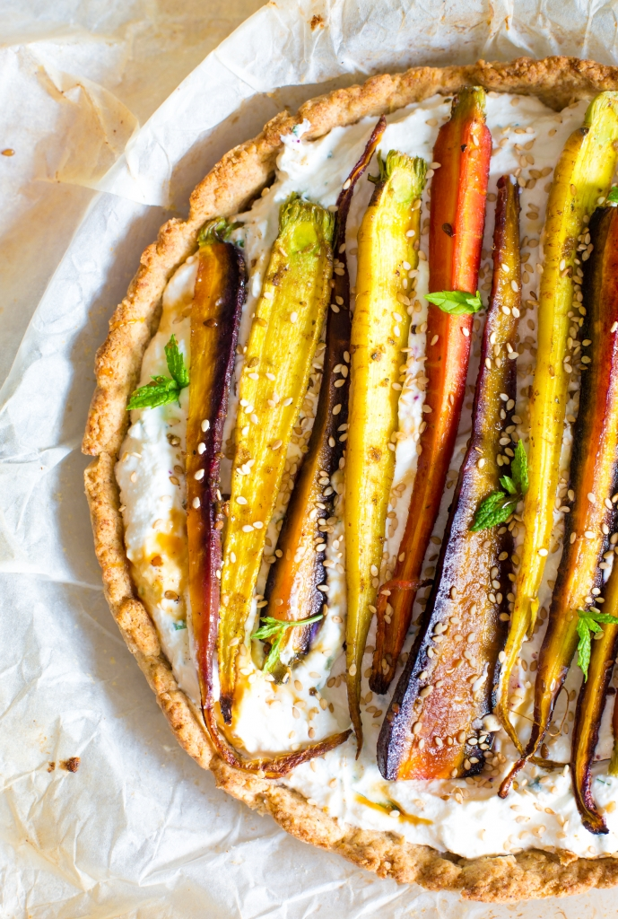 Roasted carrot and ricotta pie