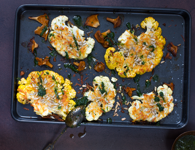 Cauliflower steaks with halloumi