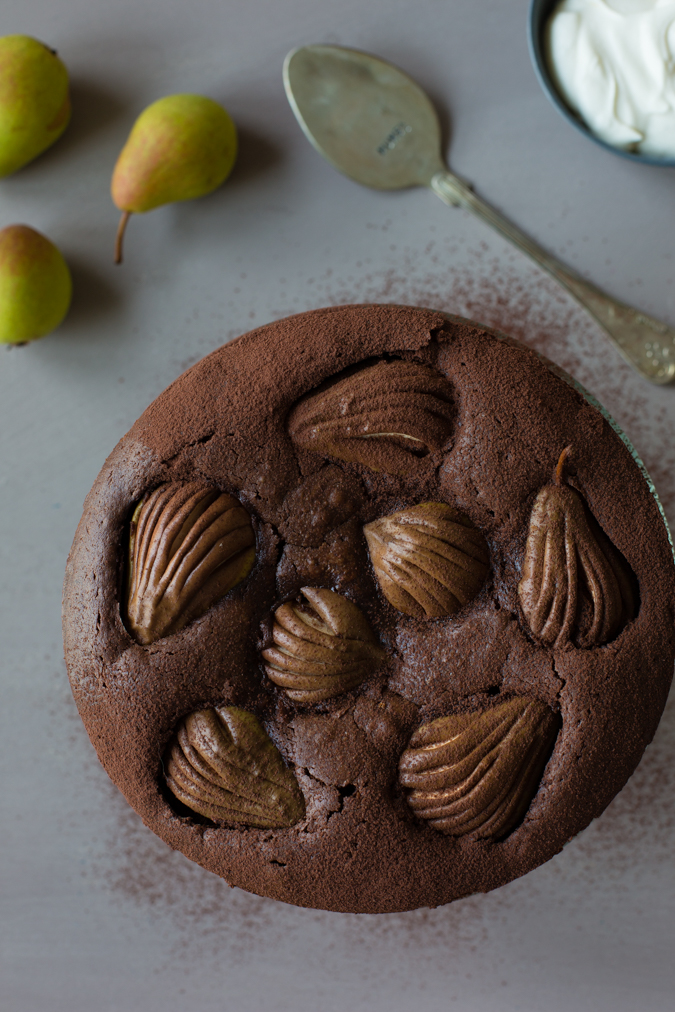 Chocolate mud cake with pears