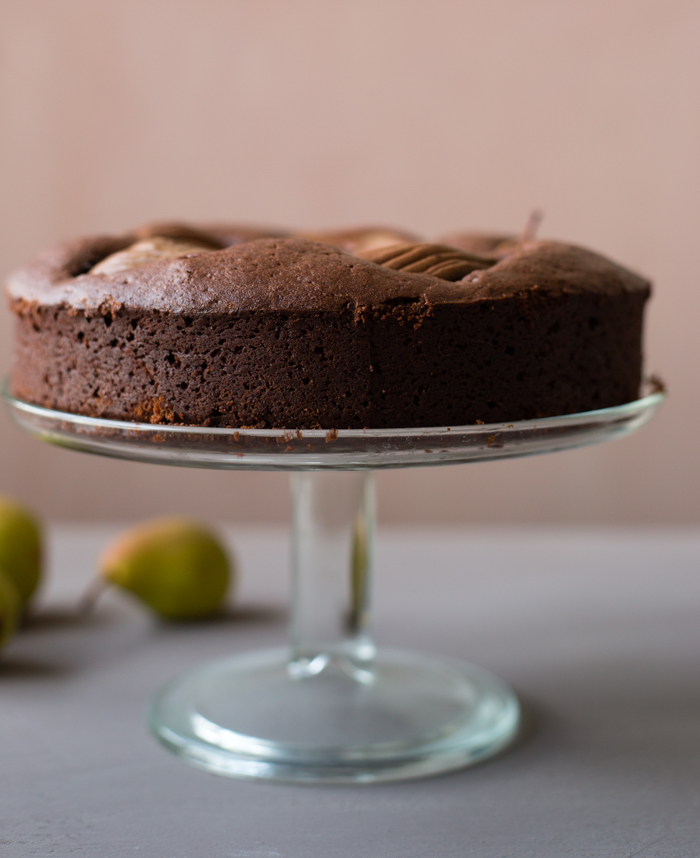 Finnish pears are just perfect for rich chocolate cake.