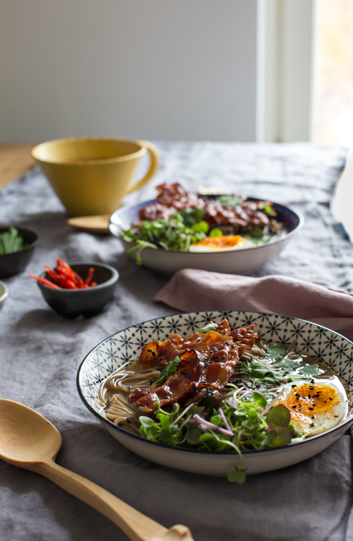 Bacon, eggs and soba noodles