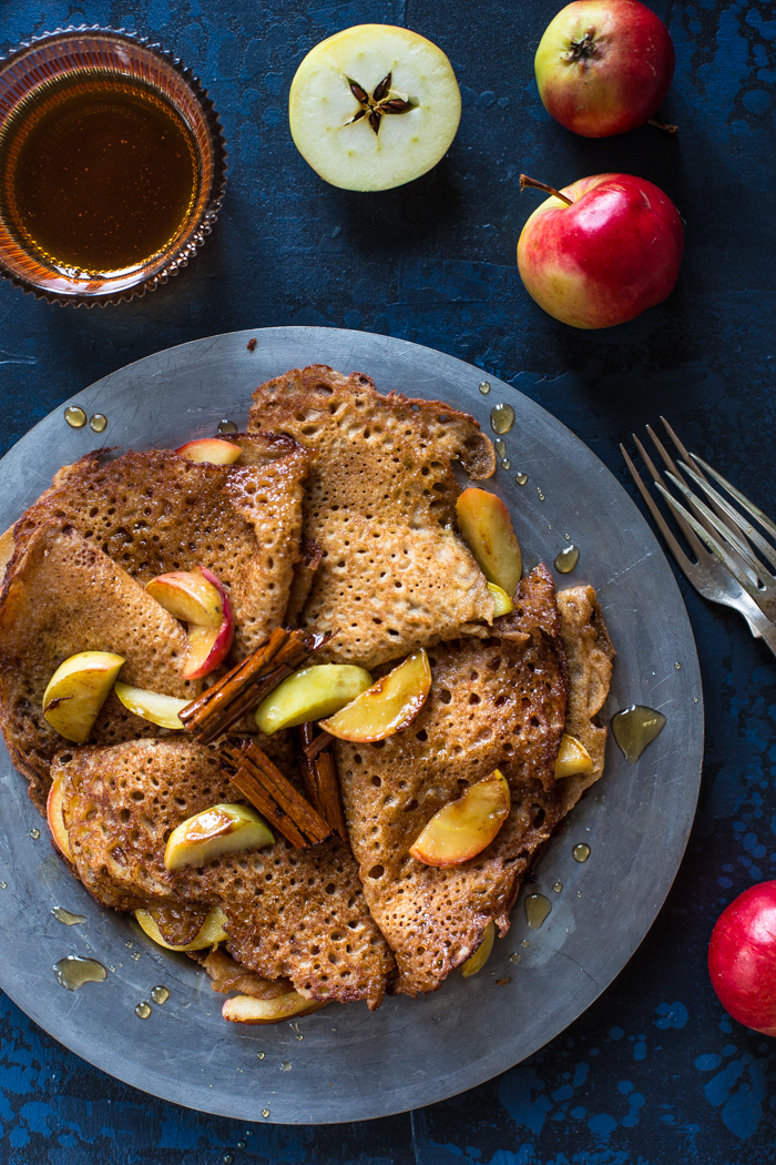 Gluten free buckwheat pancakes with cider syrup
