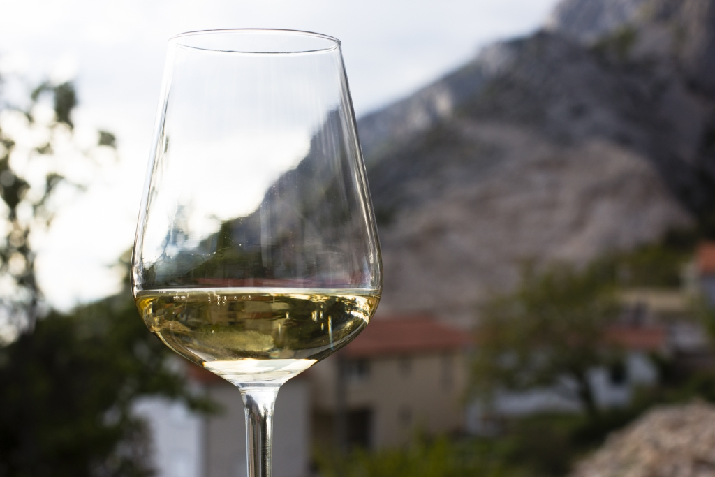 Croatian white wine with noce views