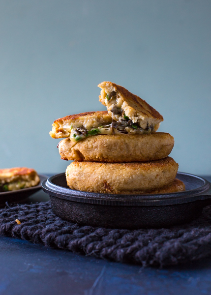Mushroom filled potato cakes