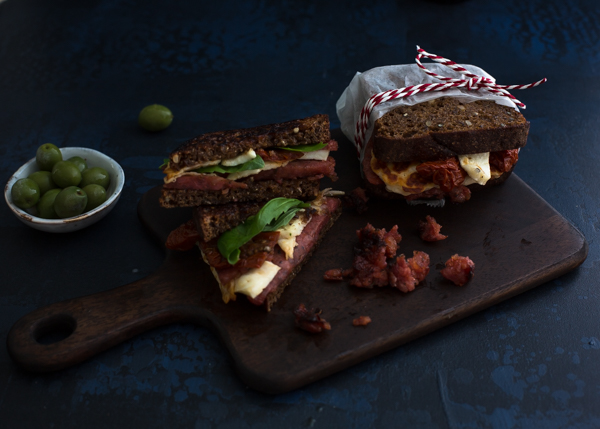 Grilled halloumi and chorizo toast