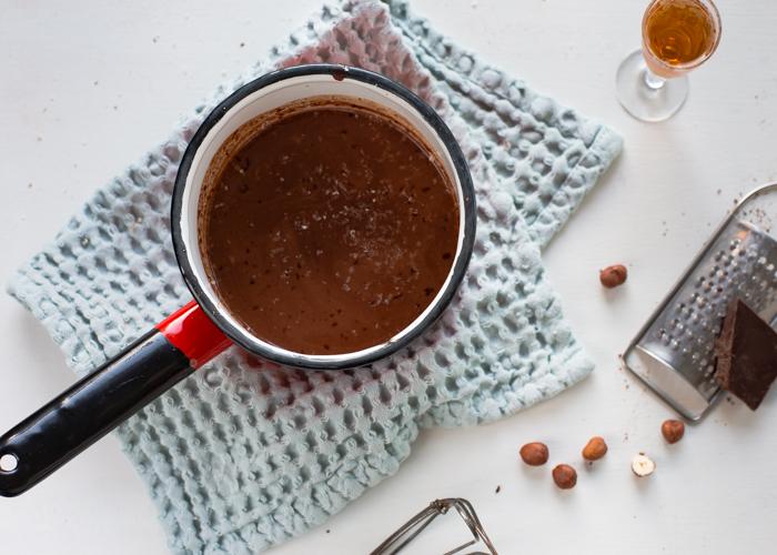 Vegan hot chocolate made from hazelnut drink