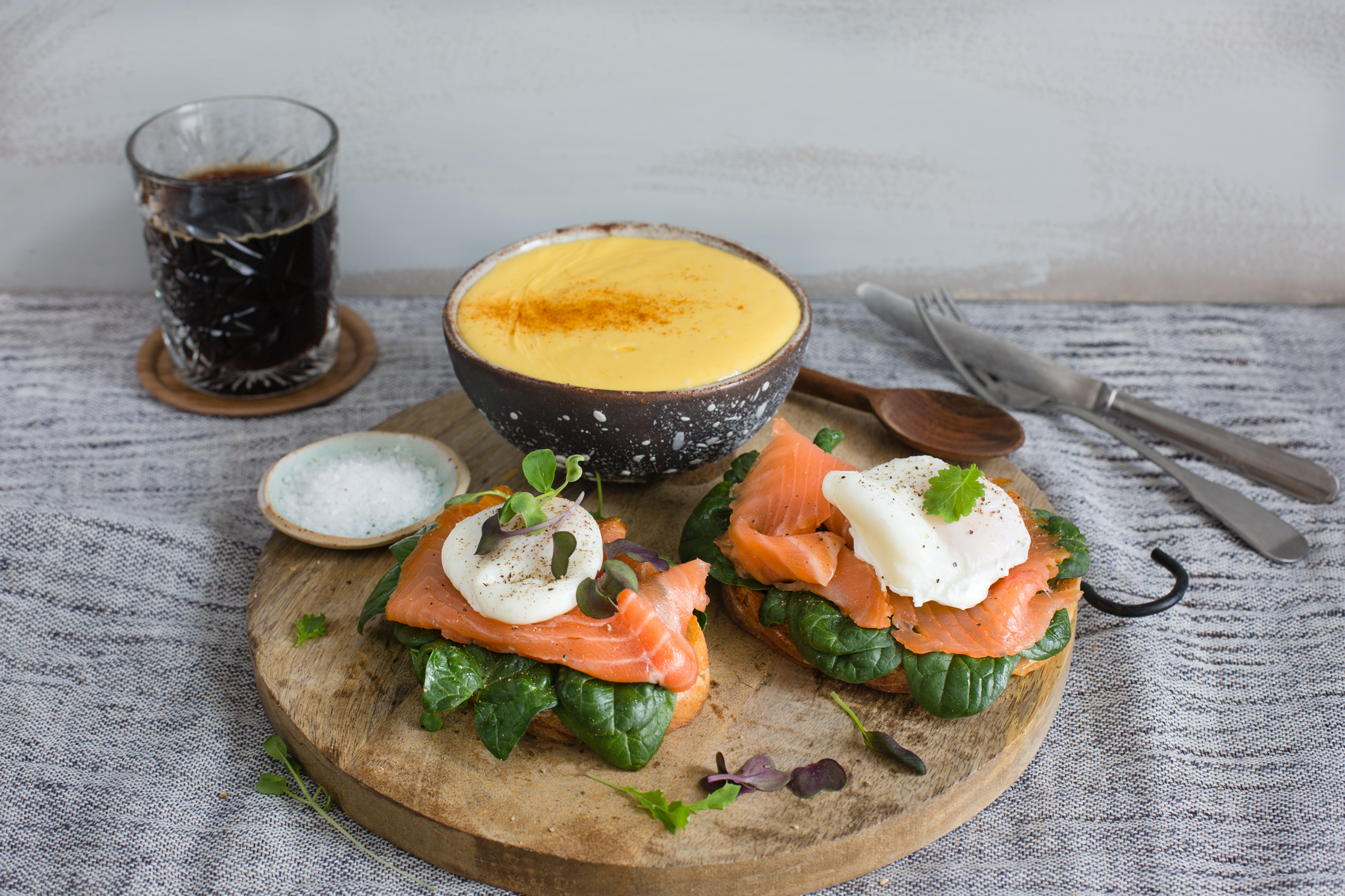 Eggs Florentine w/ cold smoked salmon