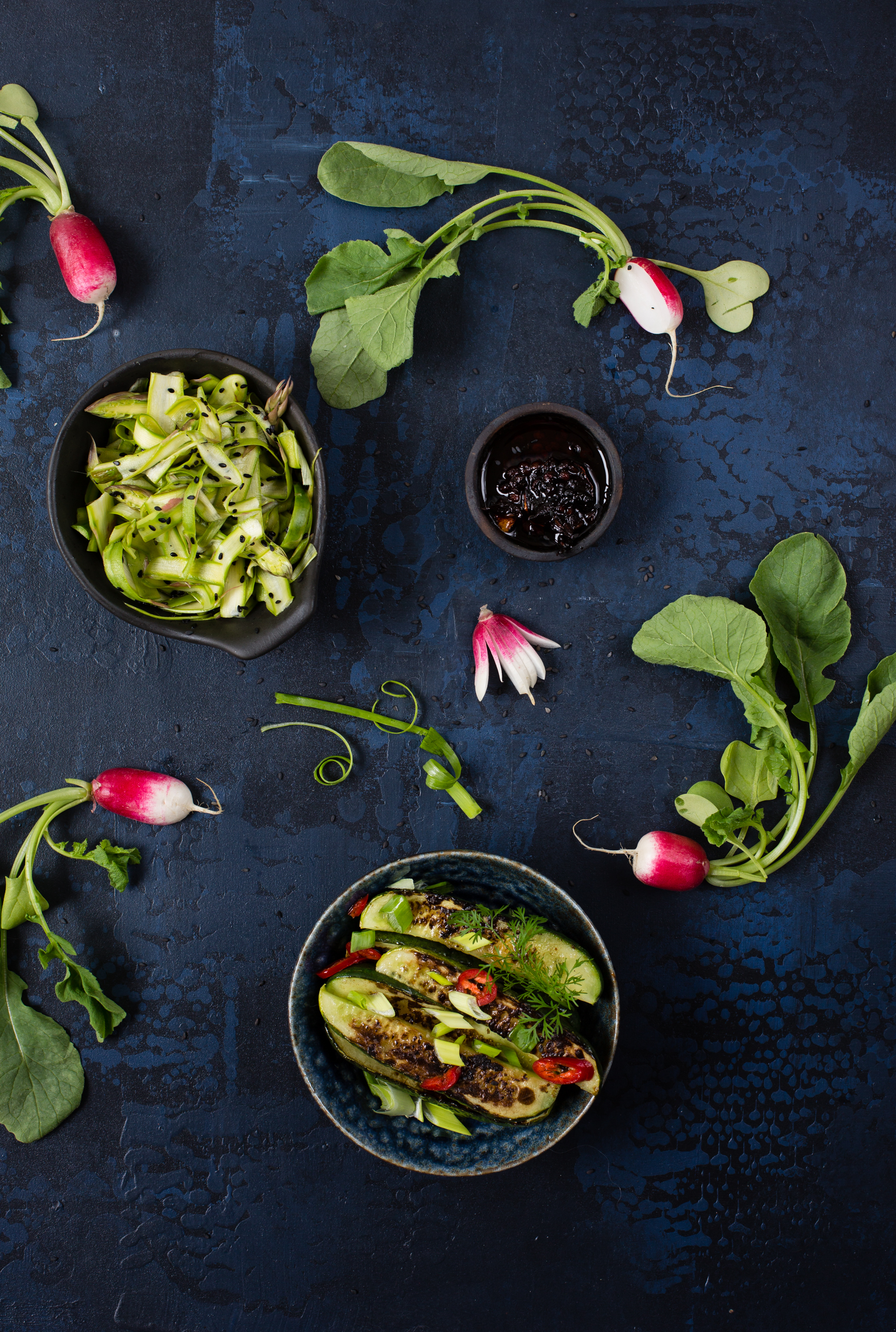 Pickled asparagus, grilled finnish cucumbers and radishes