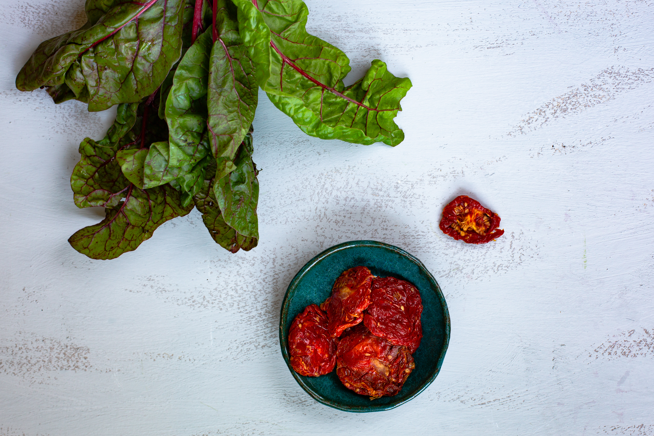 Swiss chard and Mallorcan semi-dried tomatoes