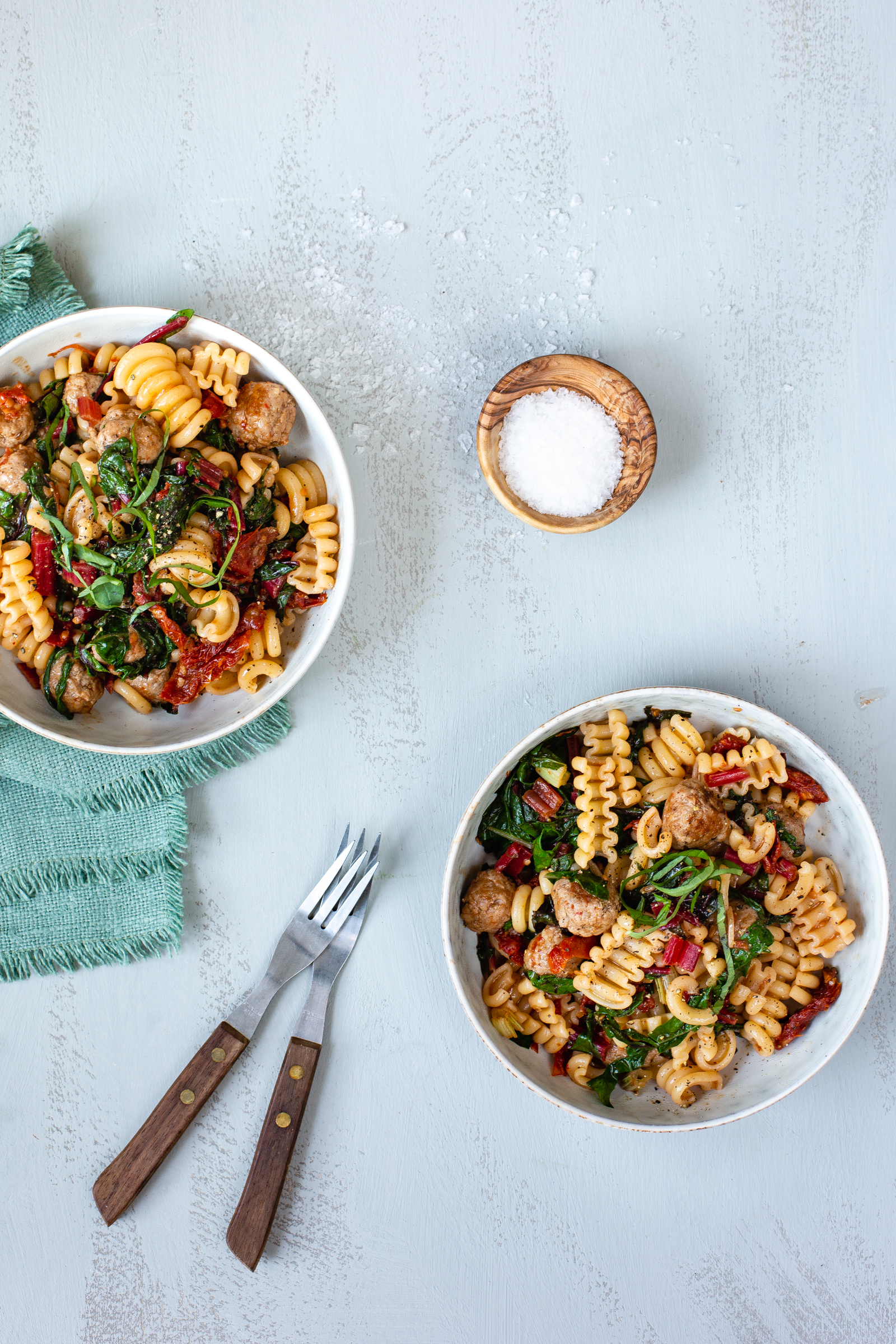 Salsiccia and swiss chard pasta