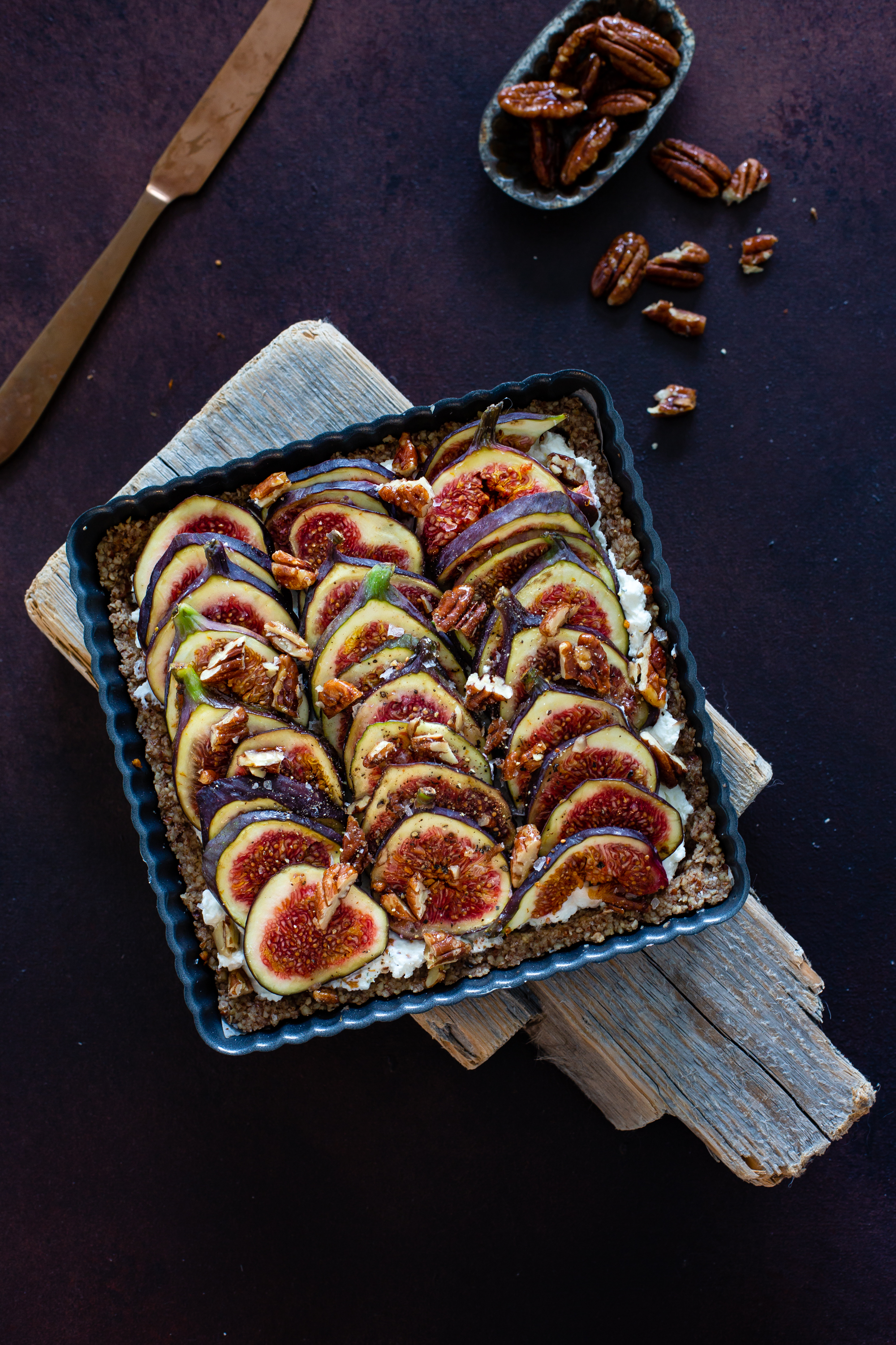 Gluten free fig and goat cheese tart