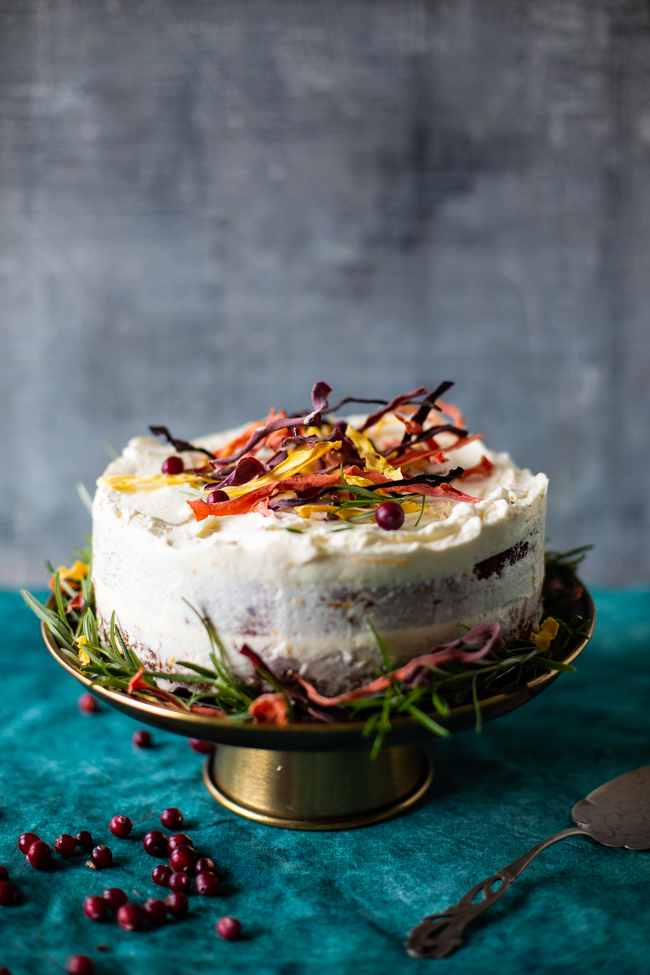 Wintery warmly spiced carrot and cranberry cake definately makes the day.