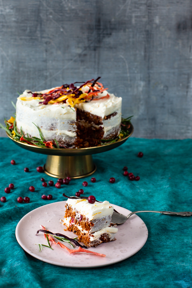 Warmly spiced carrot cake with cranberries