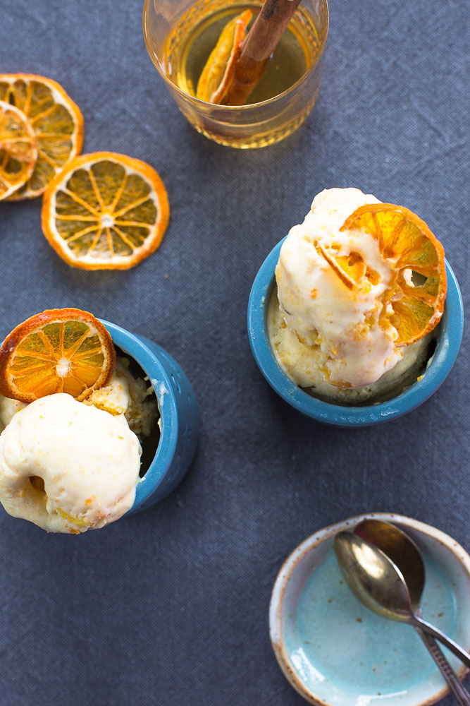 clementine ice cream with apple cider
