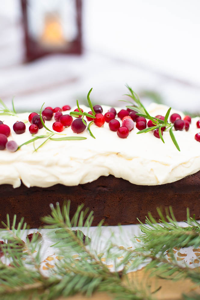 Festive cake with cranberries and port wine