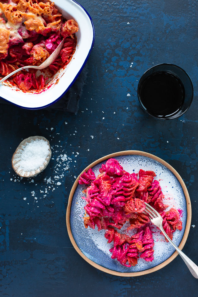 Easy beetroot mac'n'cheese